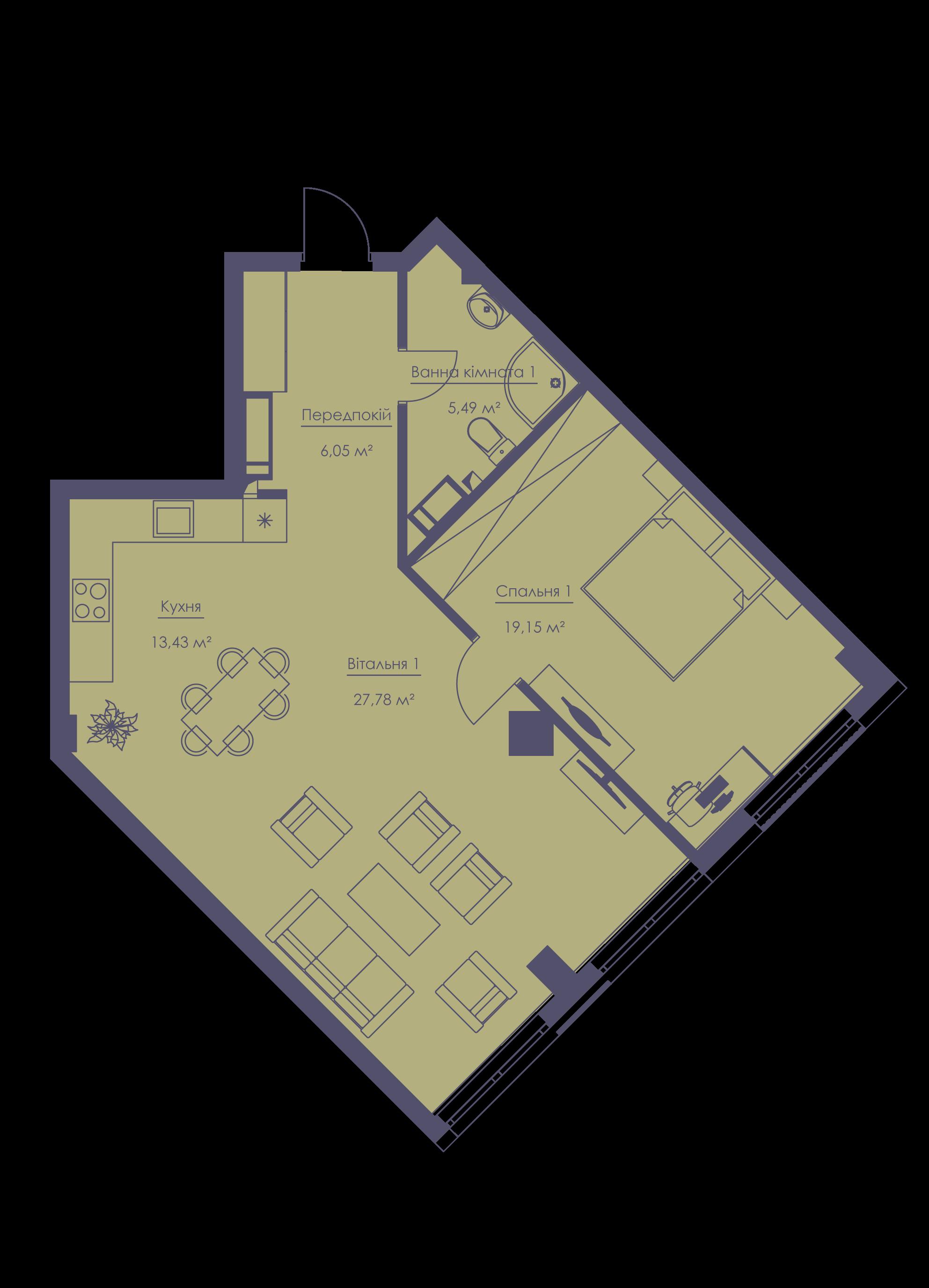 Apartment layout KV_43_2a_1_1_1-1