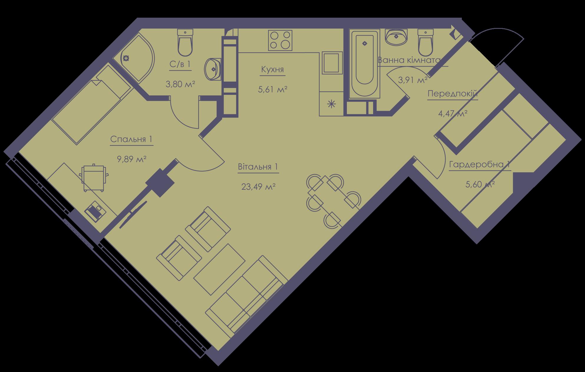 Apartment layout KV_50_2b_1_1_4-1