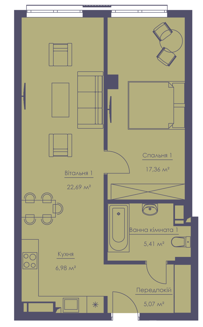 Apartment layout KV_55_2k_1_1_10-1