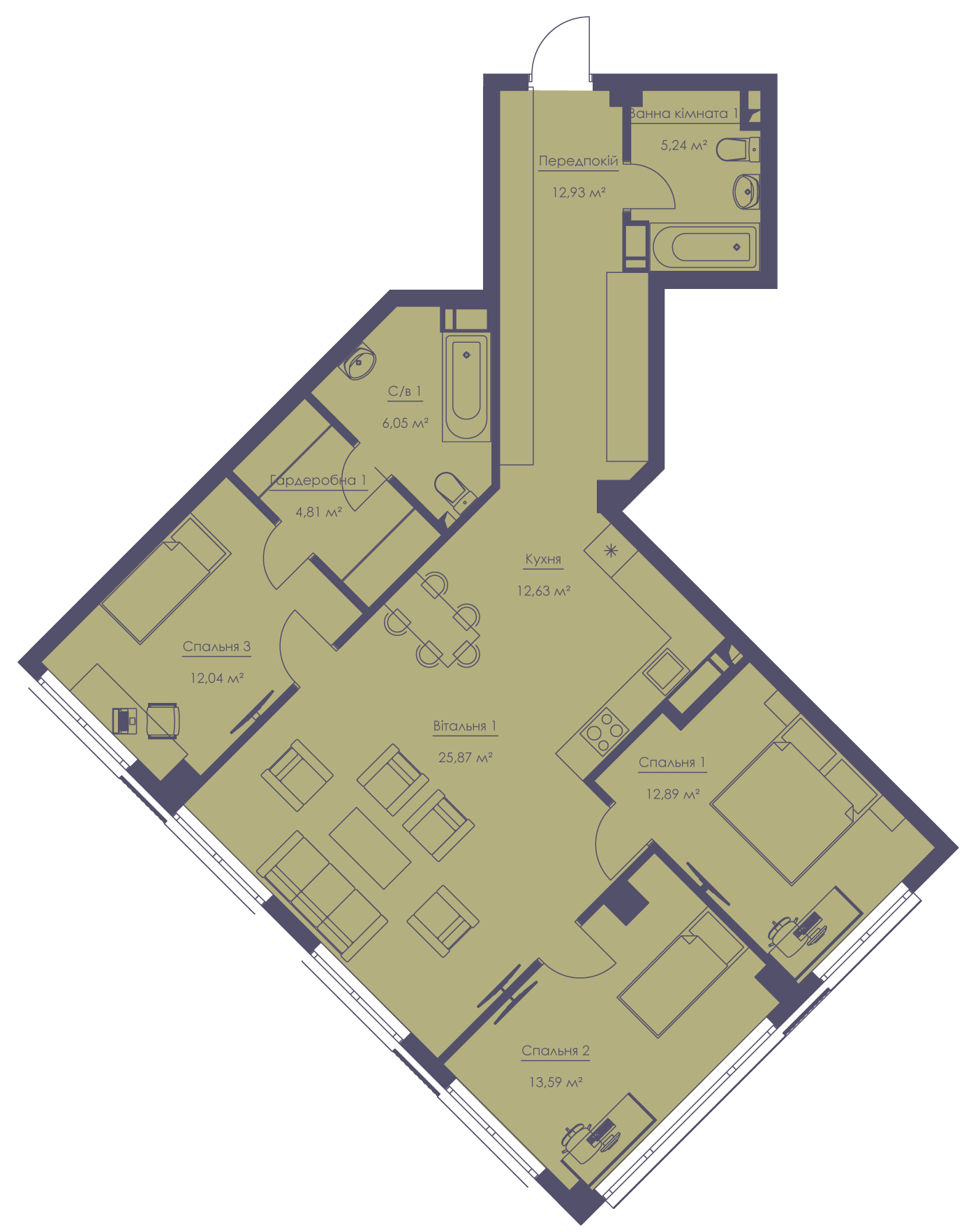 Apartment layout KV_59_4a_1_1_2-1