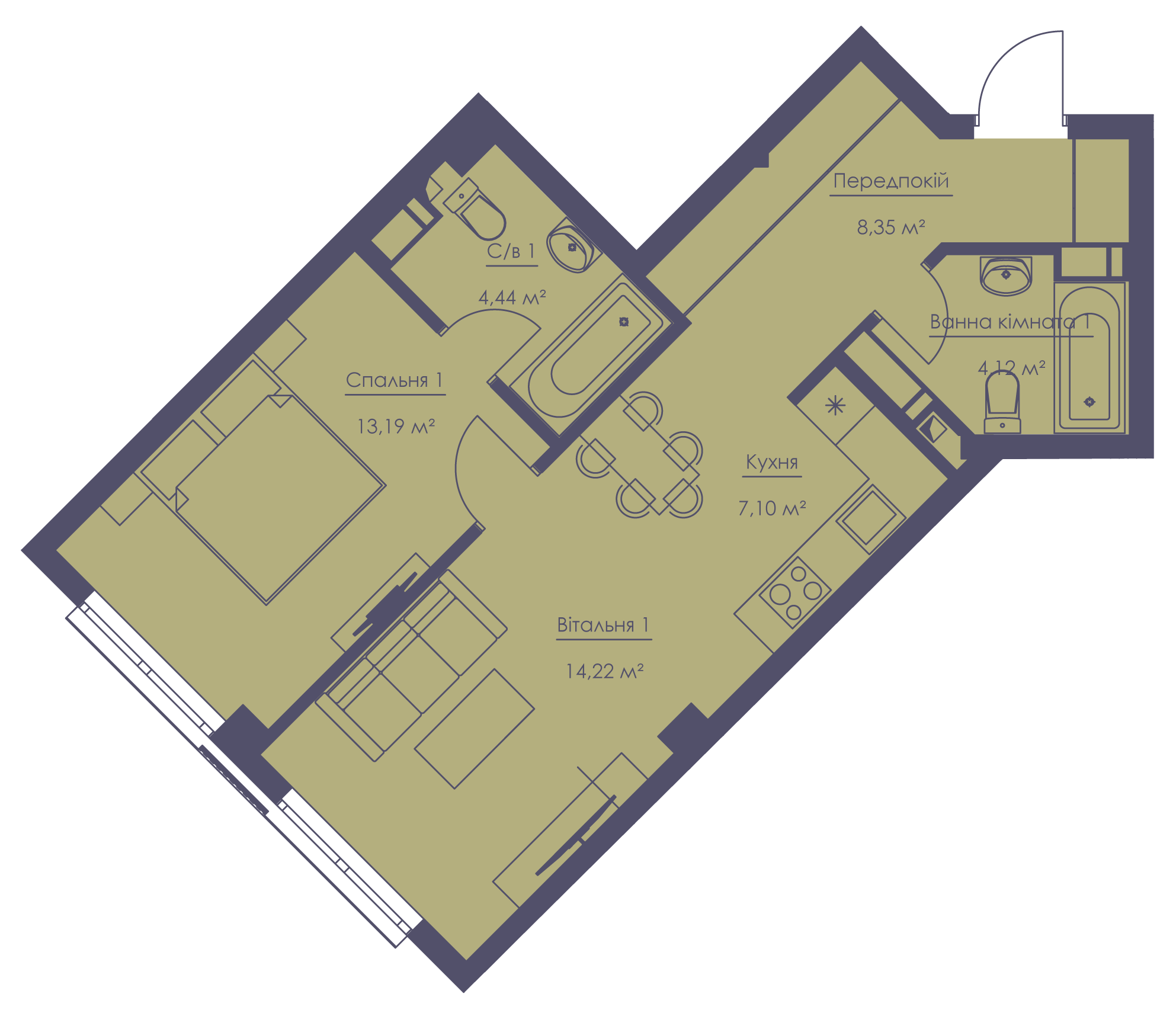 Apartment layout KV_60_2m_1_1_3-1
