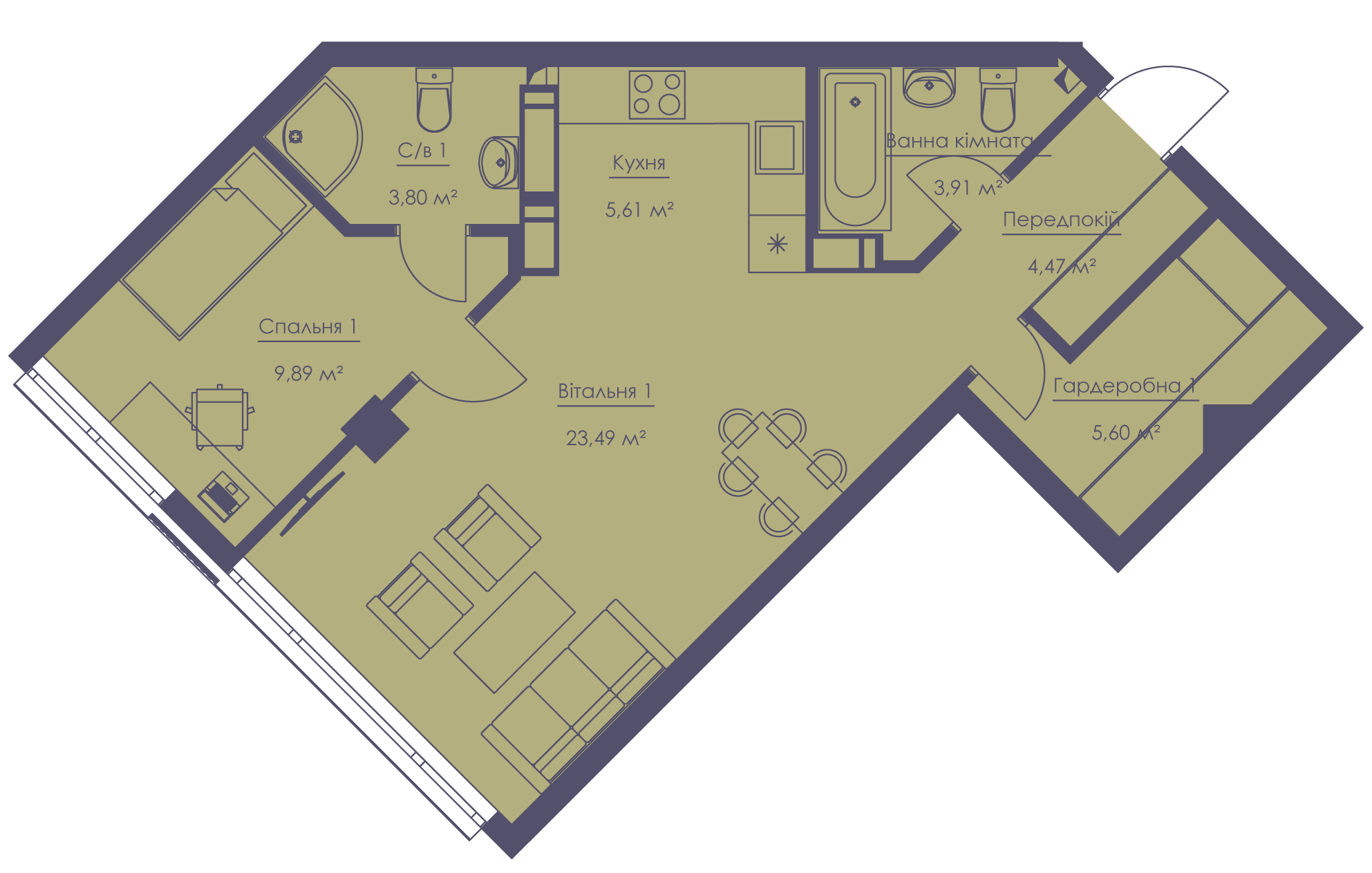 Apartment layout KV_61_2b_1_1_4-1