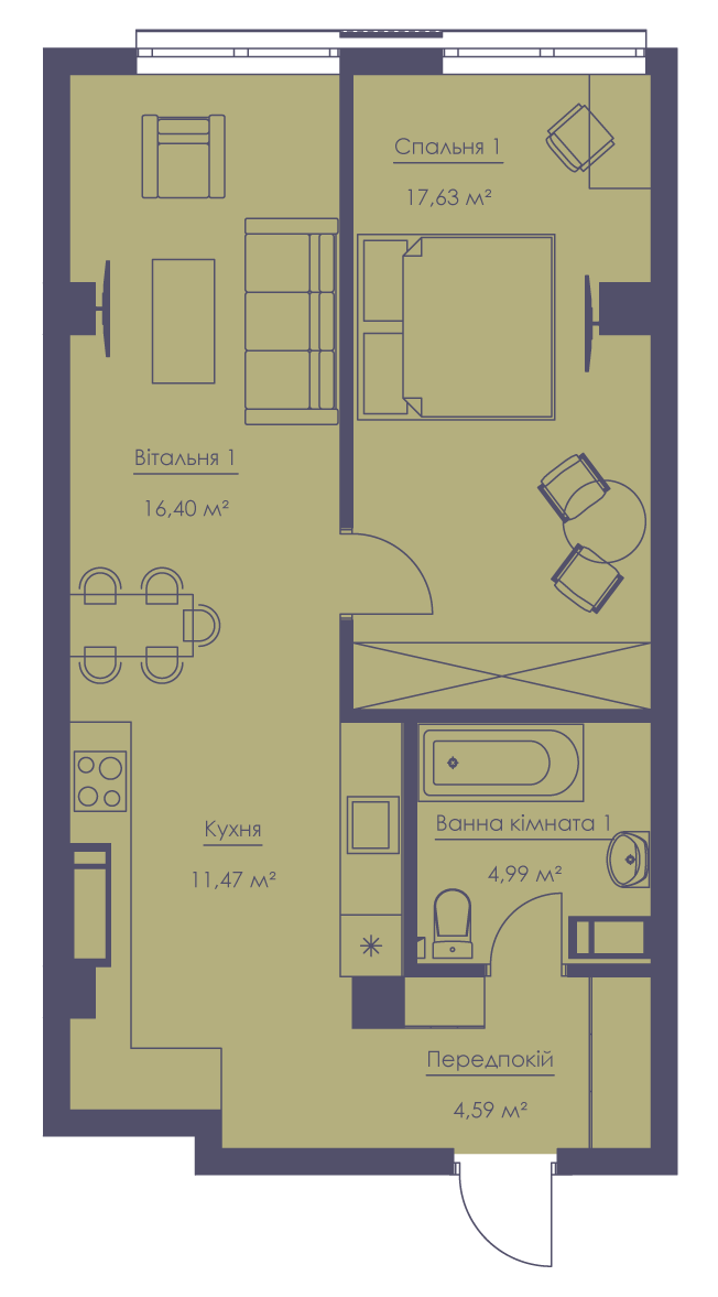 Apartment layout KV_64_2d_1_1_8-1