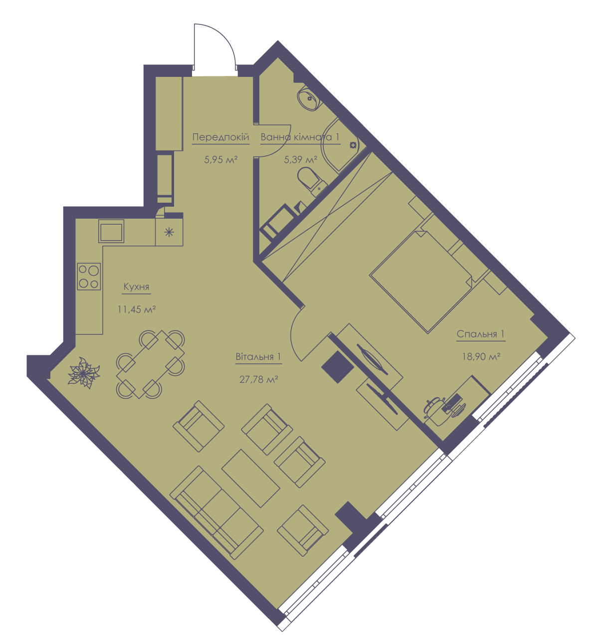 Apartment layout KV_58_2a_1_1_1-1