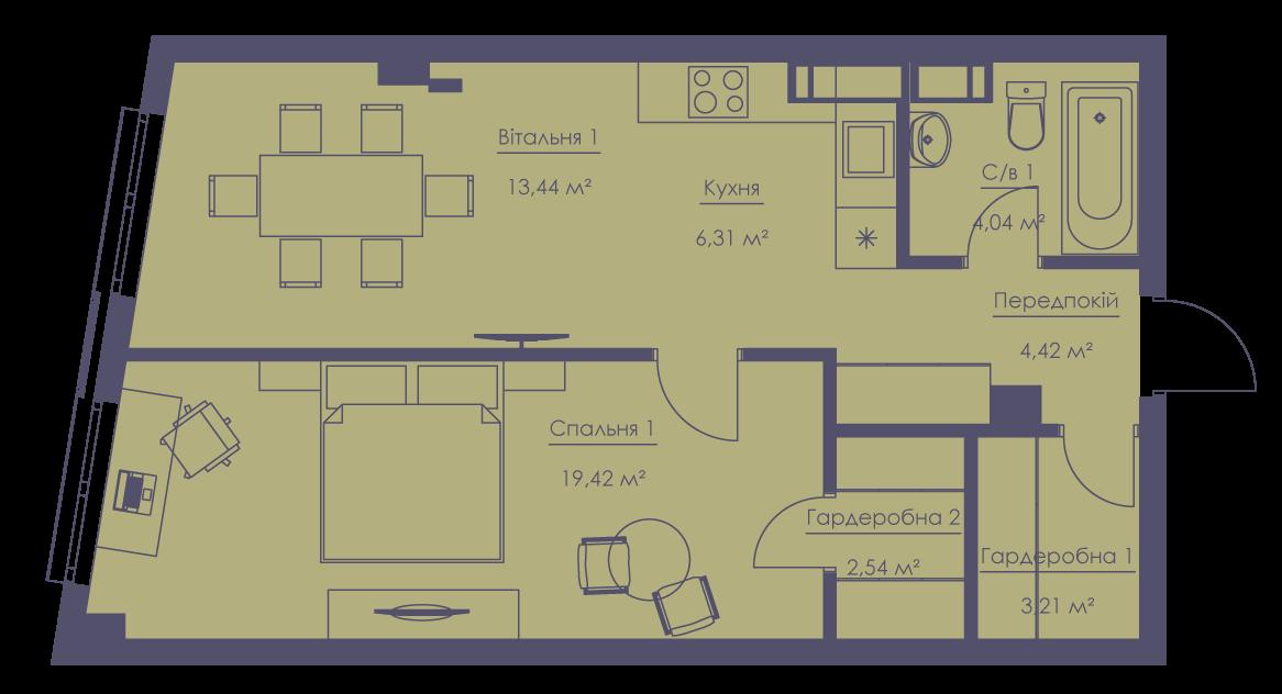 Apartment layout KV_62_2v_1_1_5-1