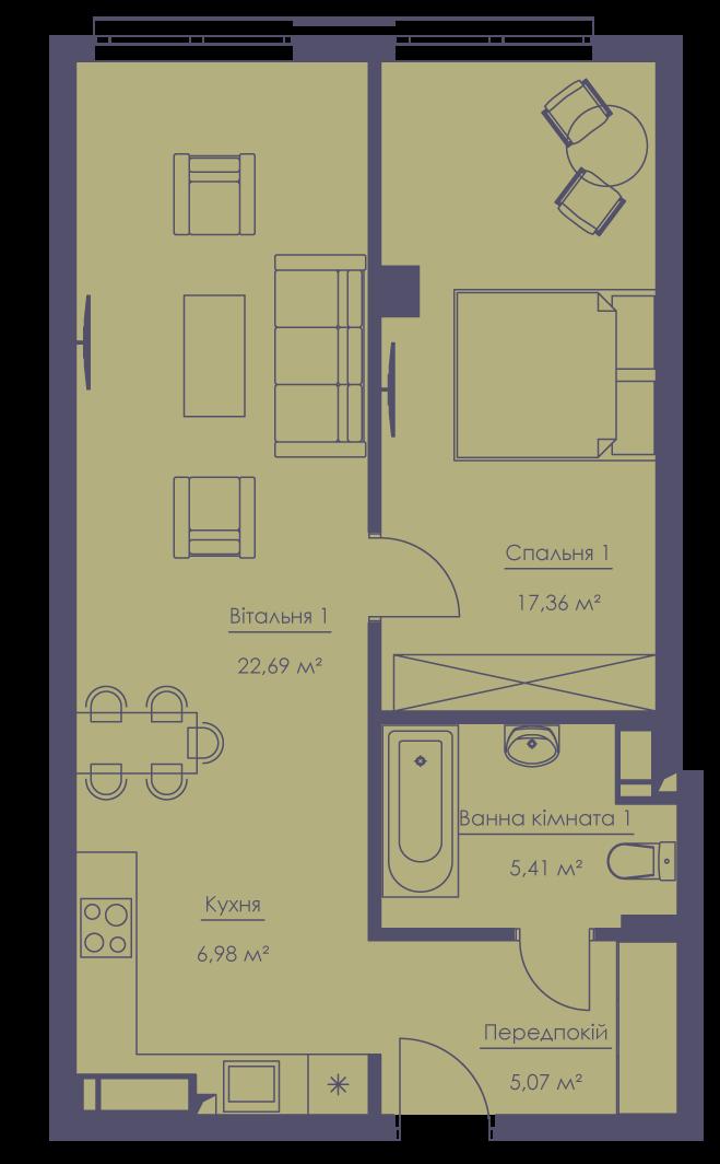 Apartment layout KV_66_2k_1_1_10-1