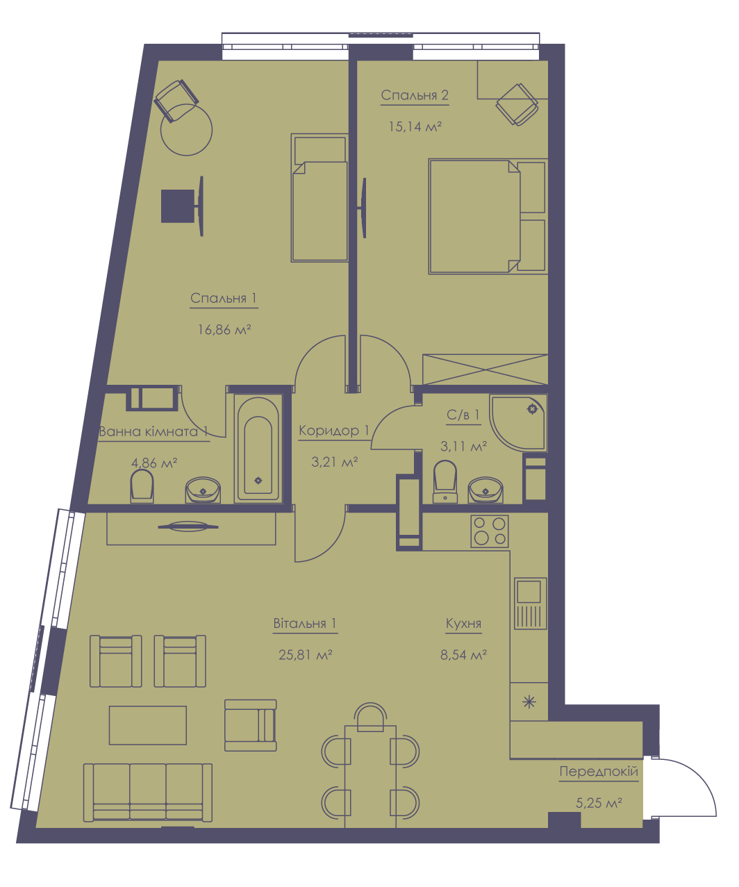 Apartment layout KV_74_3n_1_1_7-1