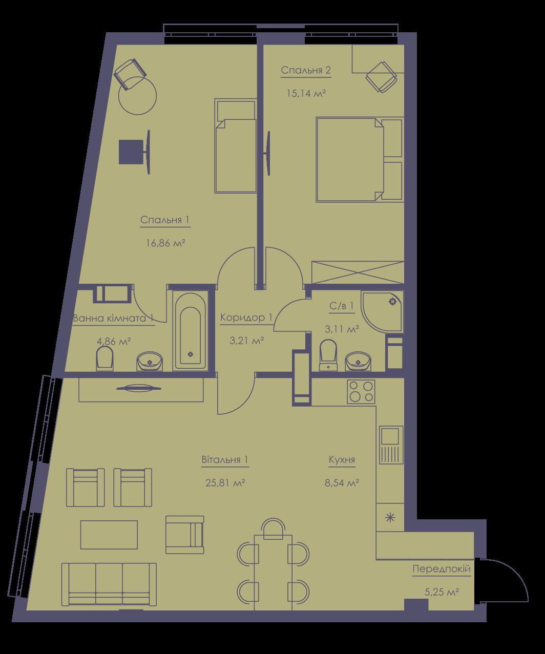 Apartment layout KV_74_3n_1_1_7-1