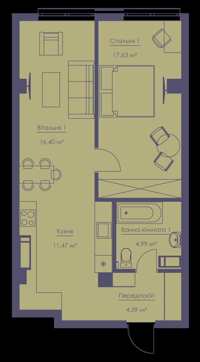 Apartment layout KV_75_2d_1_1_8-1