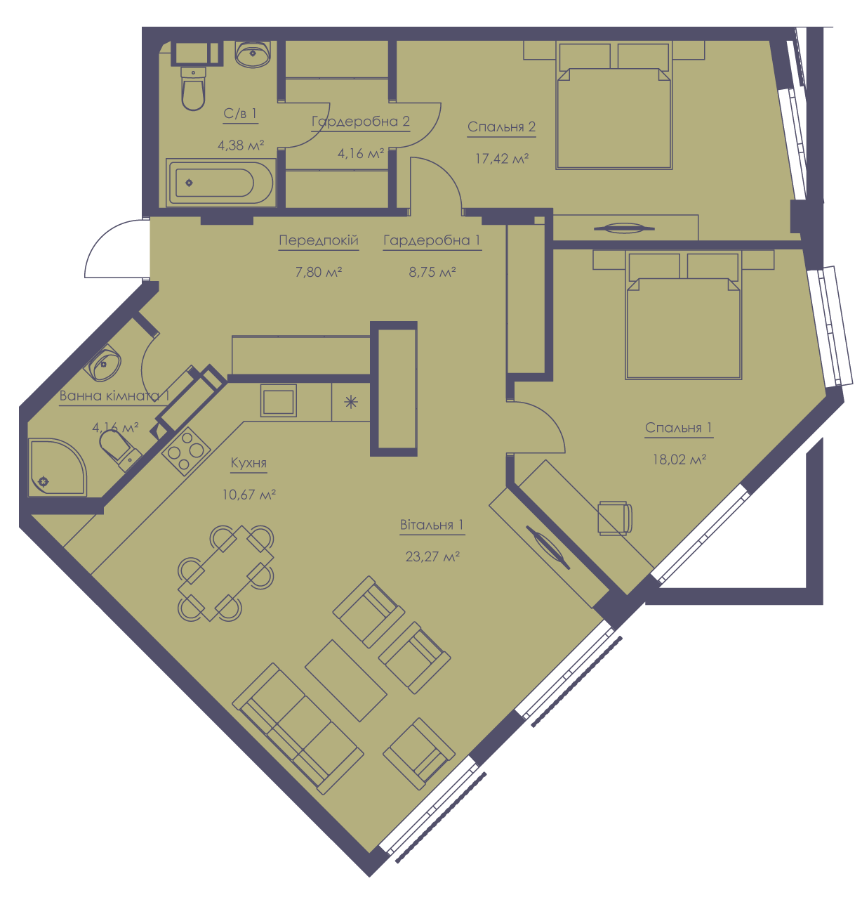 Apartment layout KV_91_3a_1_1_12-1