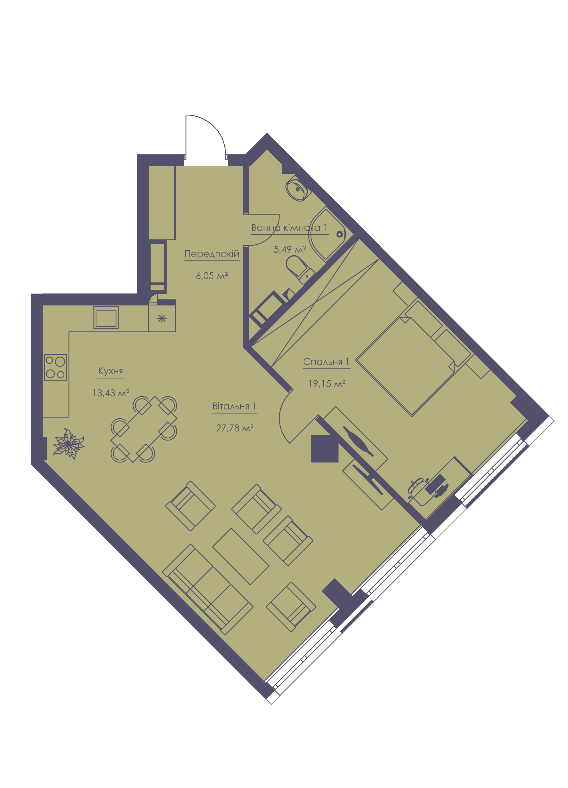 Apartment layout KV_80_2a_1_1_1-1