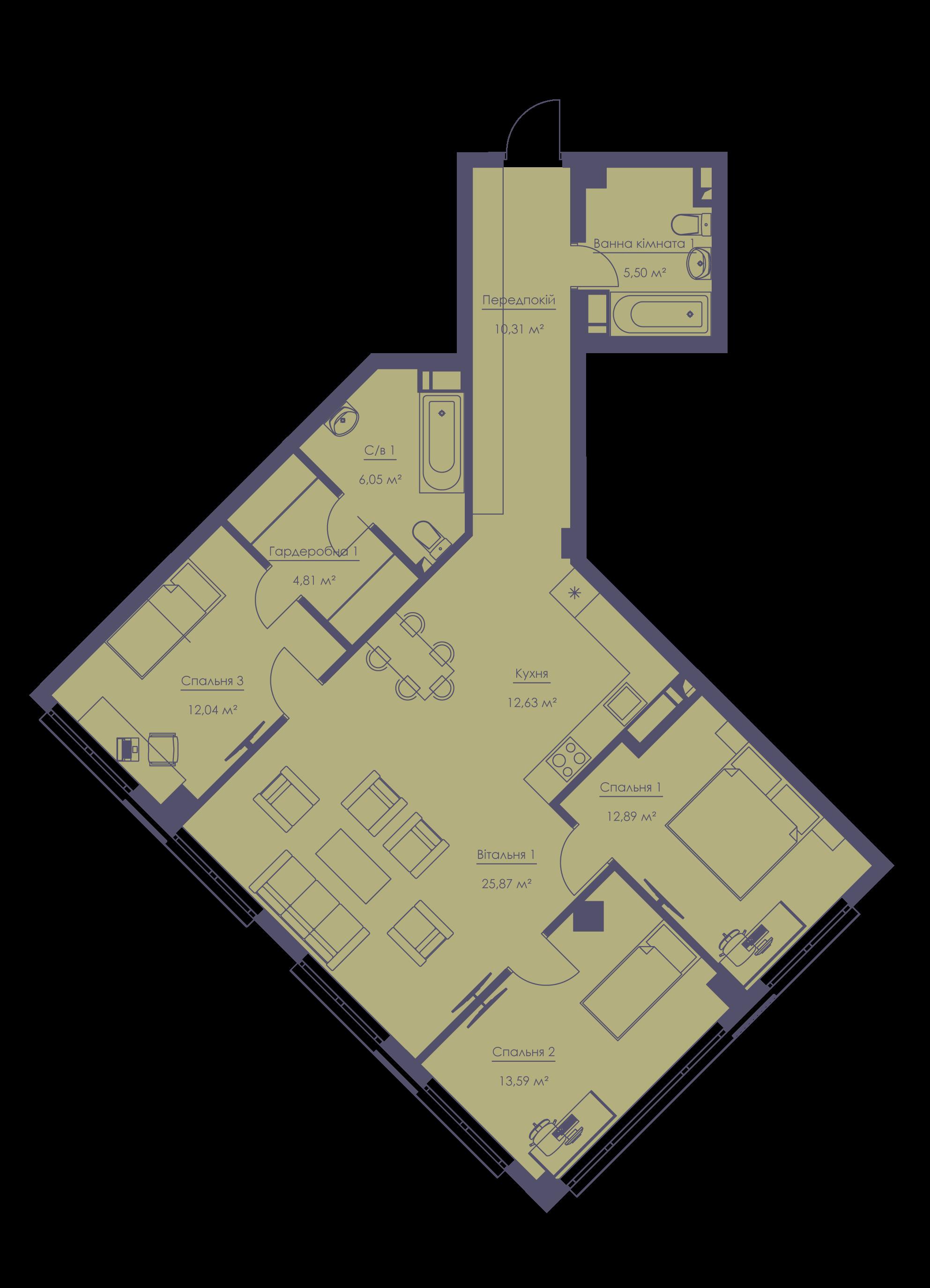 Apartment layout KV_81_4a_1_1_2-1