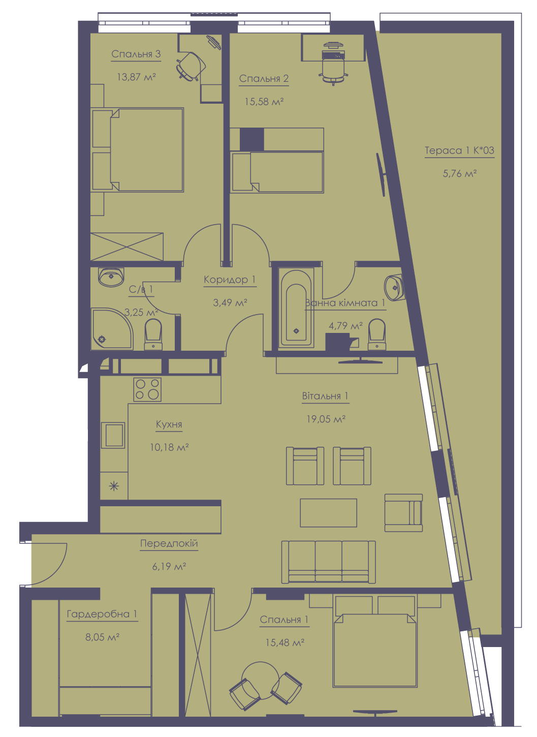 Apartment layout KV_100_4g_1_1_11-1