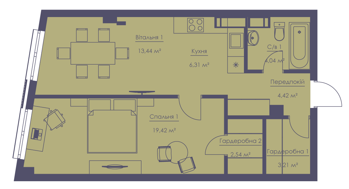 Apartment layout KV_95_2v_1_1_5-1