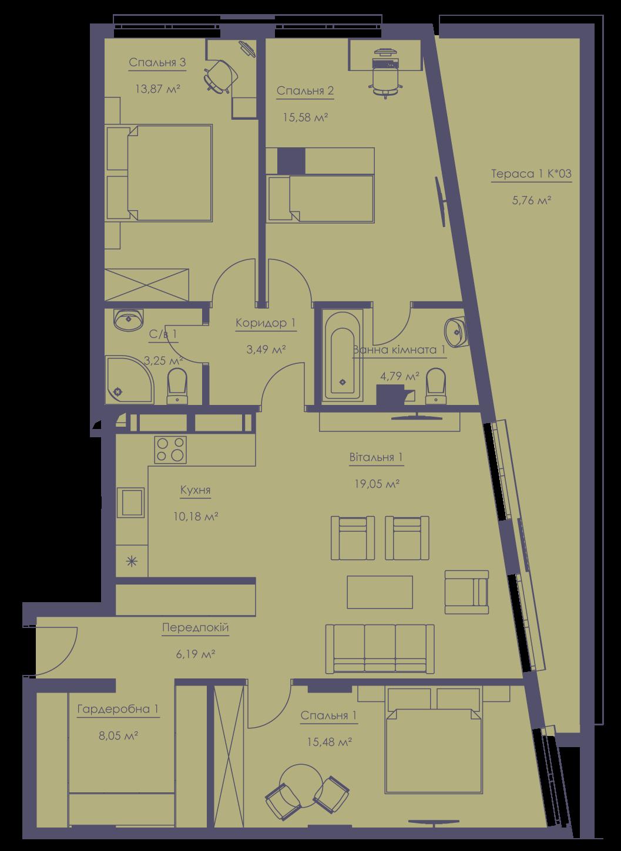 Apartment layout KV_100_4g_1_1_11-1