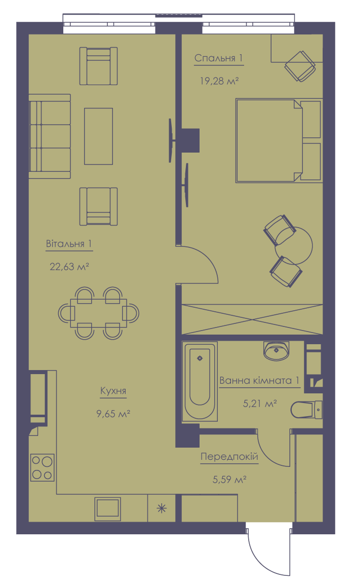 Apartment layout KV_153_3.2zh_1_1_9-1