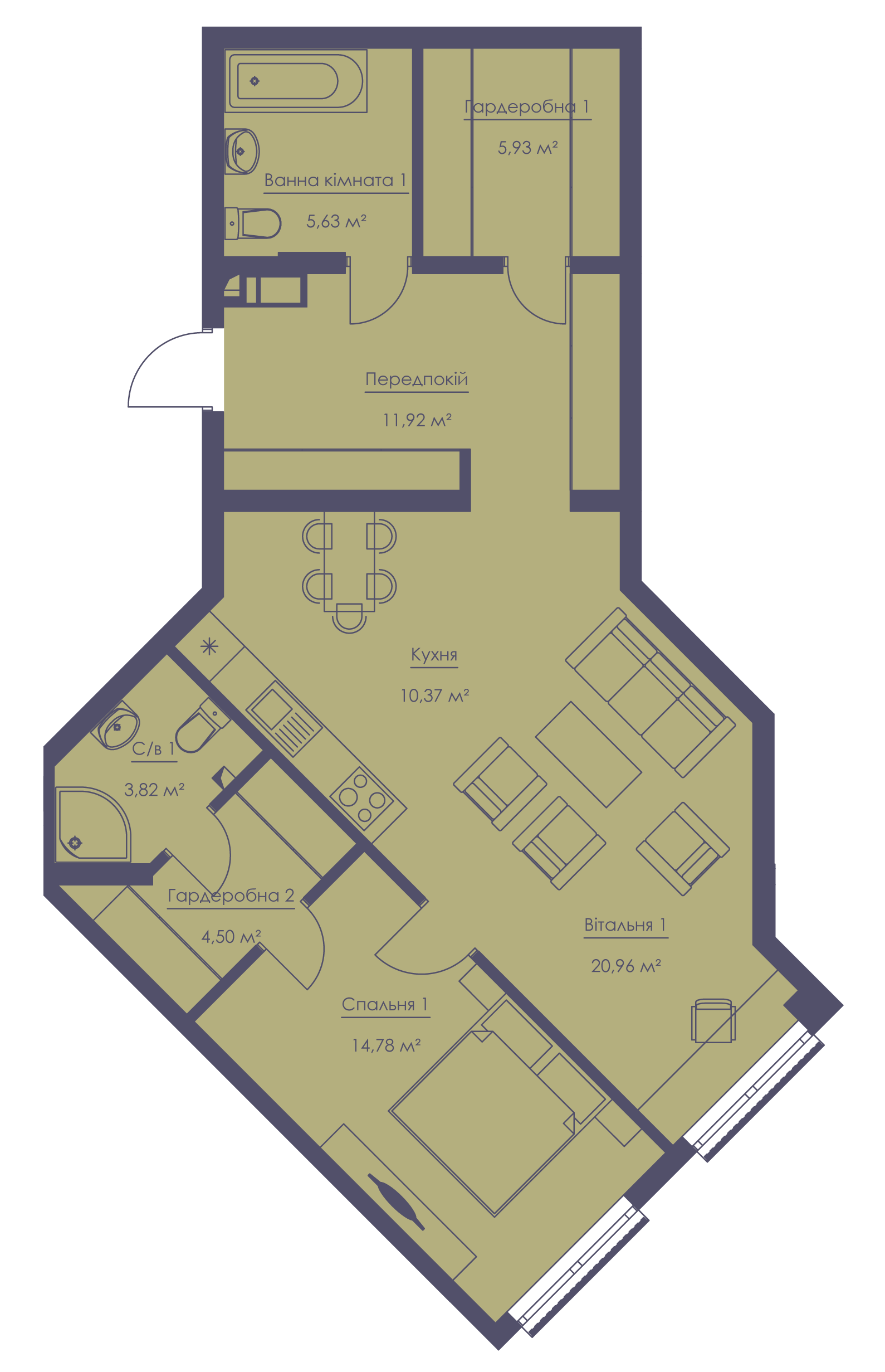Apartment layout KV_12_1.2l_1_1_12-1