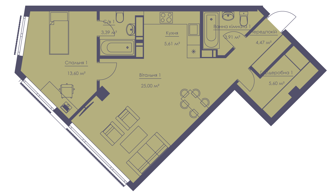 Apartment layout KV_40_2b_1_1_4-1