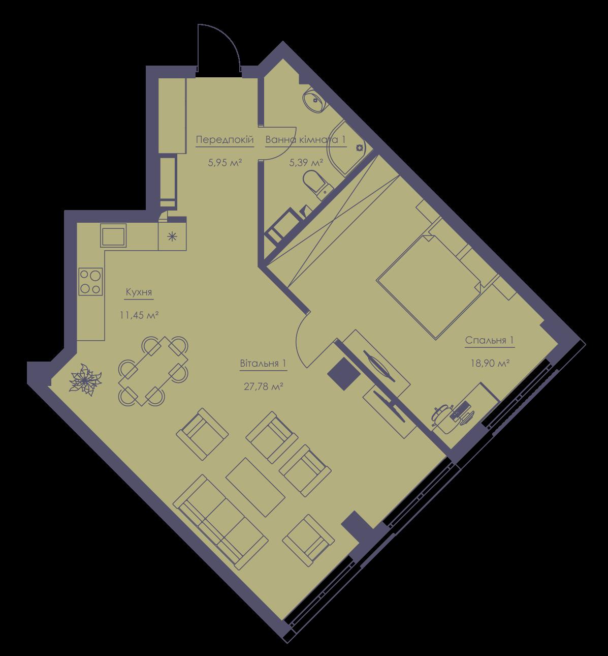 Apartment layout KV_33_2a_1_1_1-1