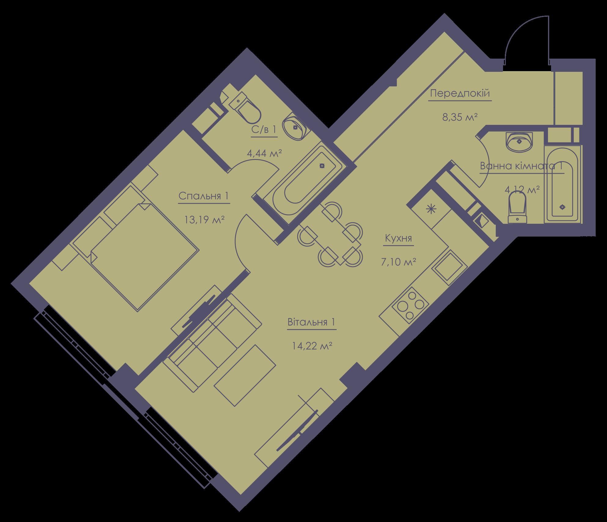 Apartment layout KV_35_2m_1_1_3-1