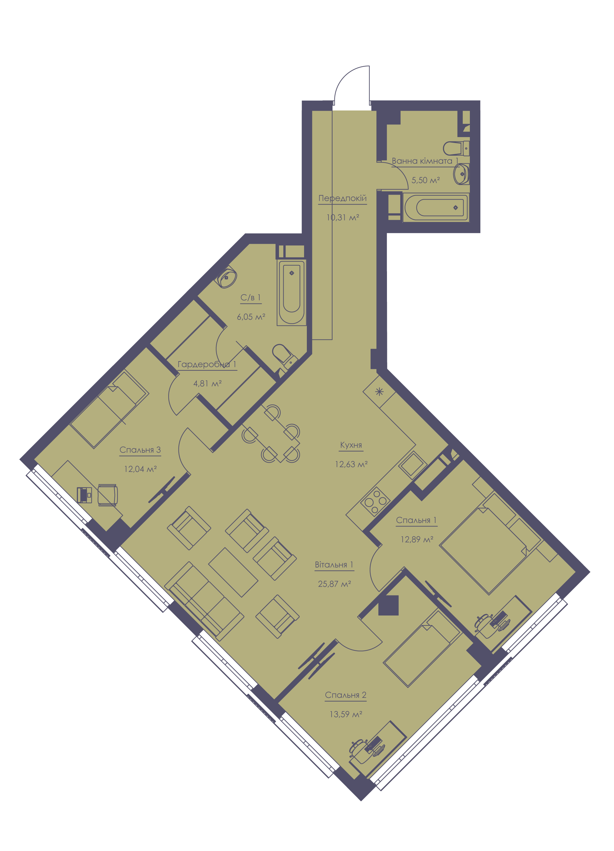 Apartment layout KV_39_4a_1_1_2-1