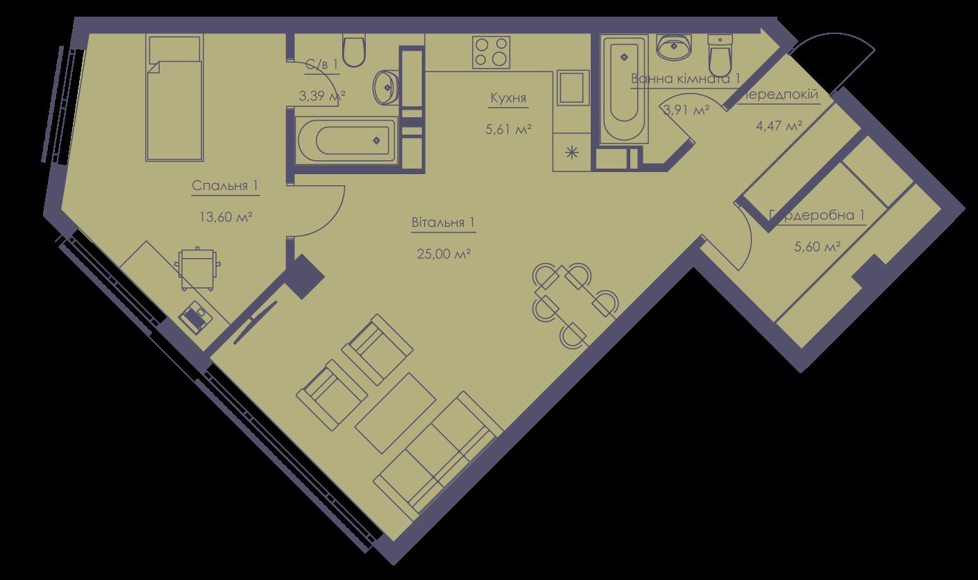 Apartment layout KV_40_2b_1_1_4-1